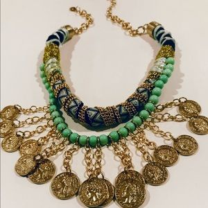 Jewelry - Women's Chunky Gold Necklace with Coins & Wrapping